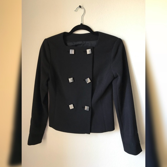 Michael Kors Black Square Button Blazer